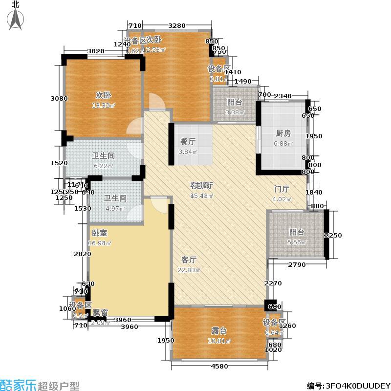 佳乐国际城129.00㎡二期4号楼A7中间层户型