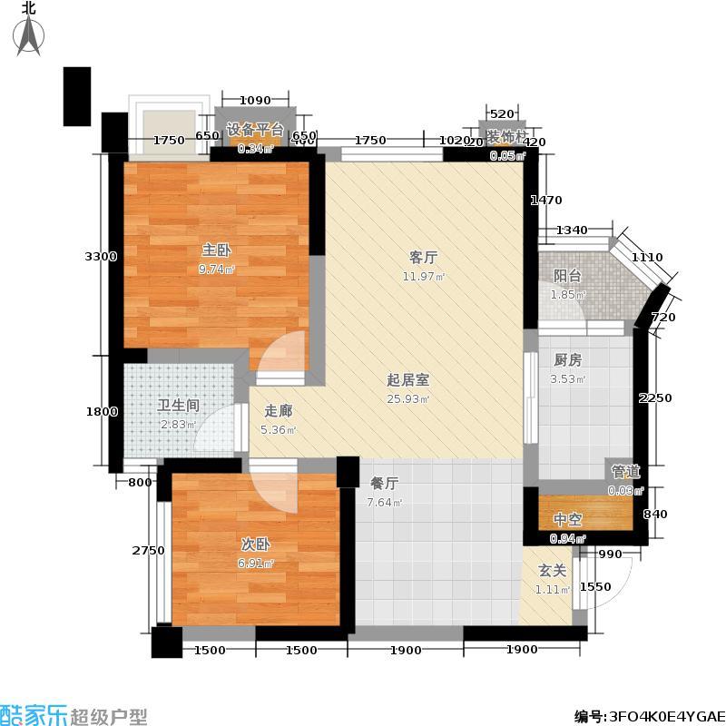 龙腾东麓城69.67㎡一期2号楼E标准层户型
