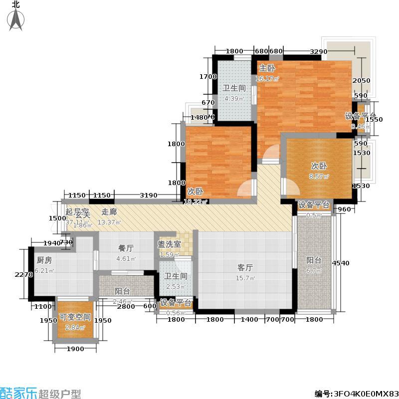 宝龙水岸金城125.58㎡1号楼标准层B2-1户型