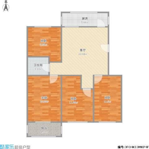 凤凰西街小区4室1厅1卫1厨111.00㎡户型图