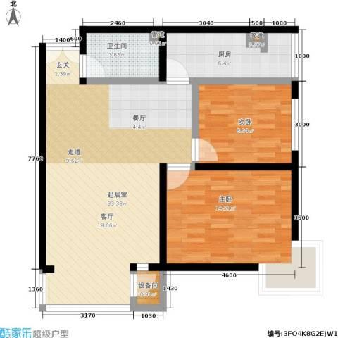 A派公寓2室0厅1卫1厨91.00㎡户型图