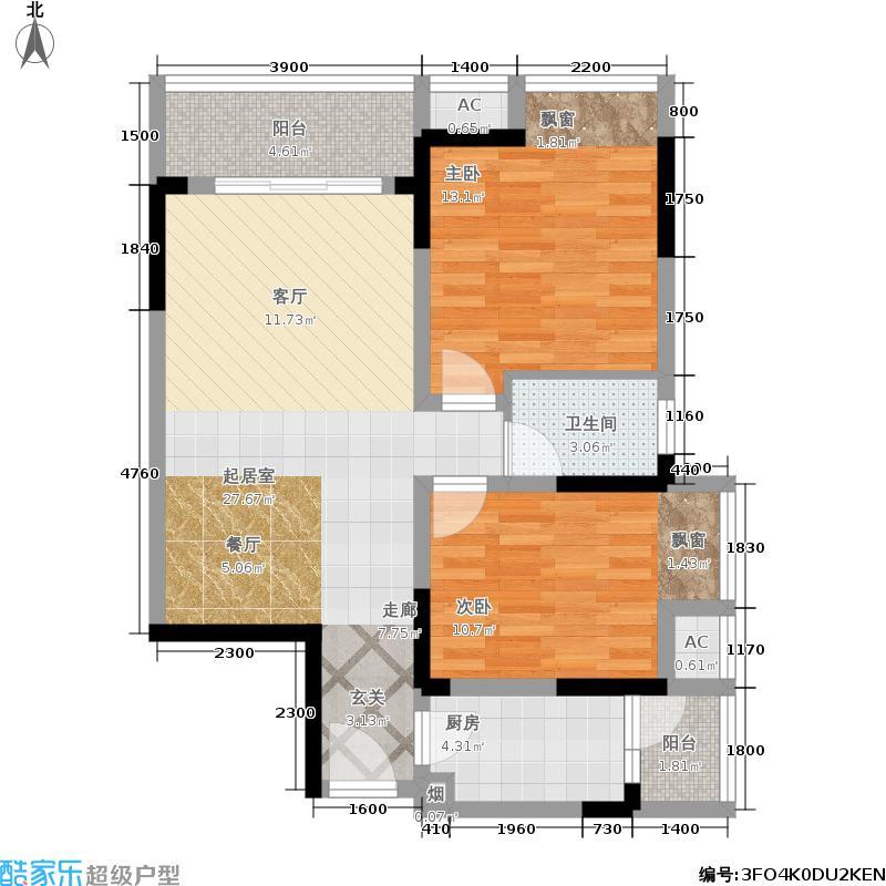 桂花香邻81.92㎡一期1#楼标准层A4户型