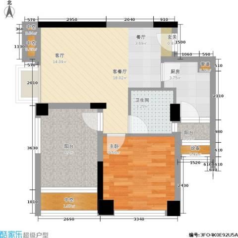 天地自由星城1室1厅1卫1厨58.00㎡户型图