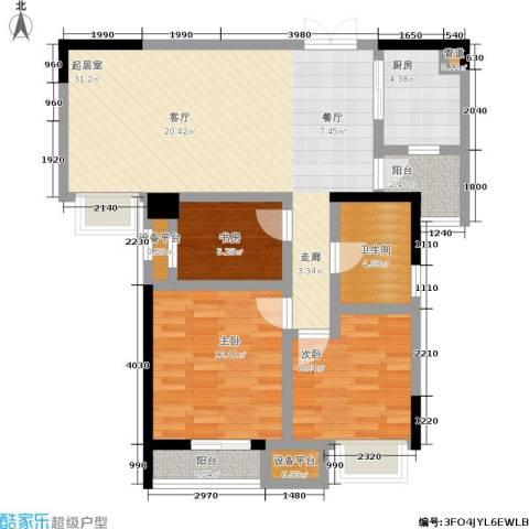 硚房翰林珑城3室0厅1卫1厨90.00㎡户型图