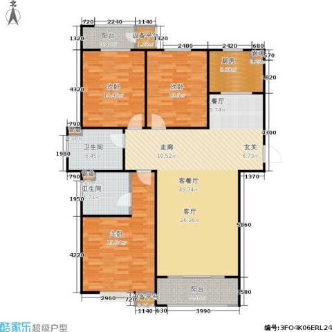 三田雍泓·青海城3室1厅2卫1厨138.00㎡户型图