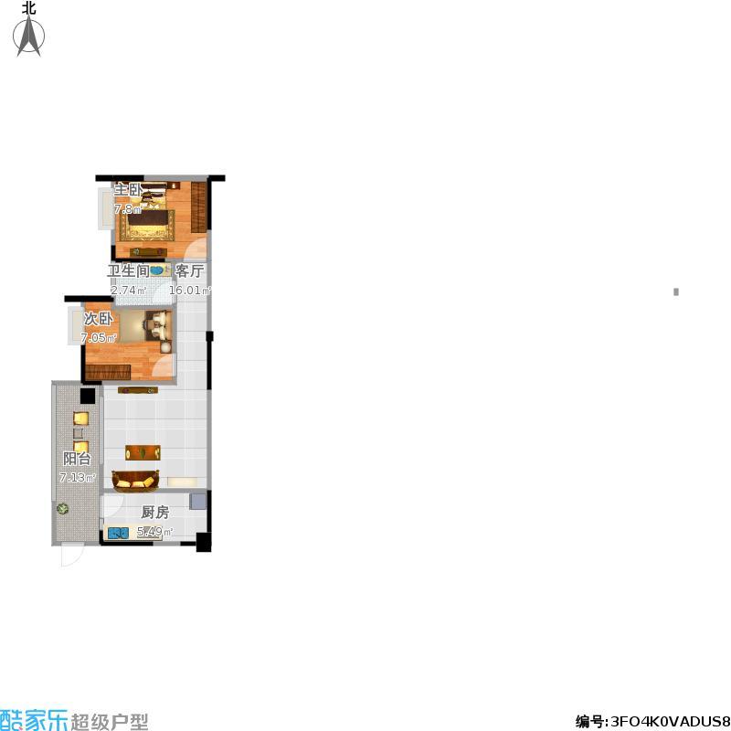 碧水蓝天60方两室一厅