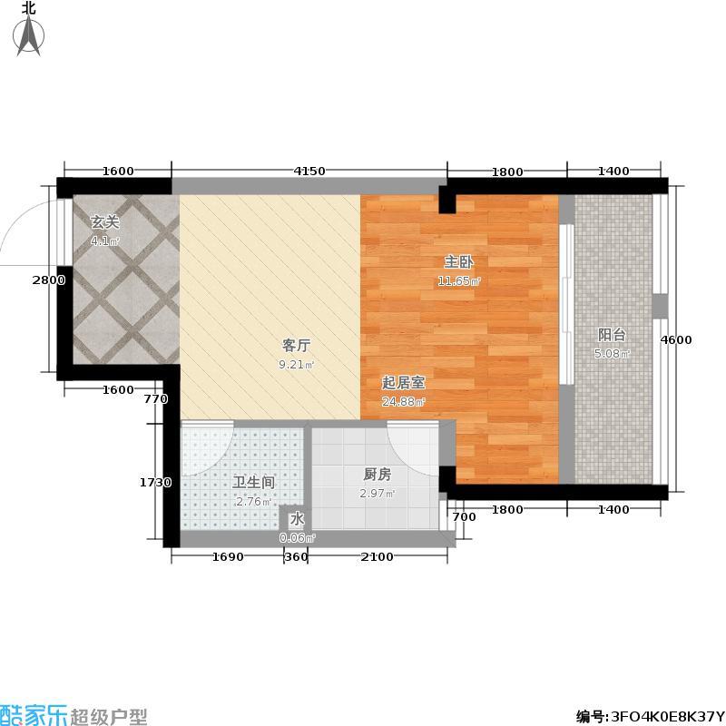高家庄赞城48.89㎡一期3号楼标准层T1户型