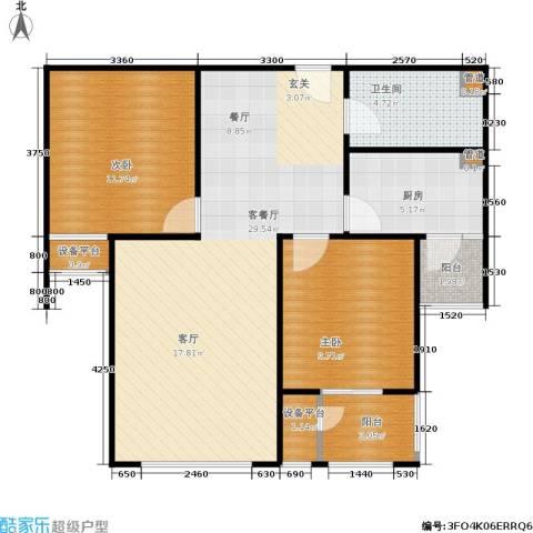 三田雍泓·青海城2室1厅1卫1厨87.00㎡户型图