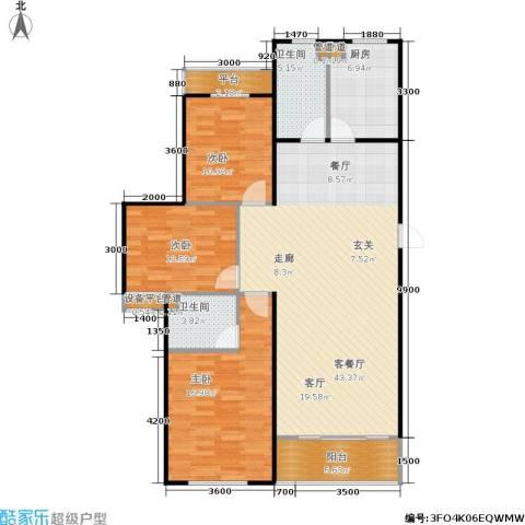 三田雍泓·青海城3室1厅2卫1厨141.00㎡户型图