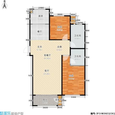 三田雍泓·青海城2室1厅2卫1厨112.00㎡户型图