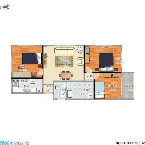 金花苑3室1厅2卫1厨92.00㎡户型图