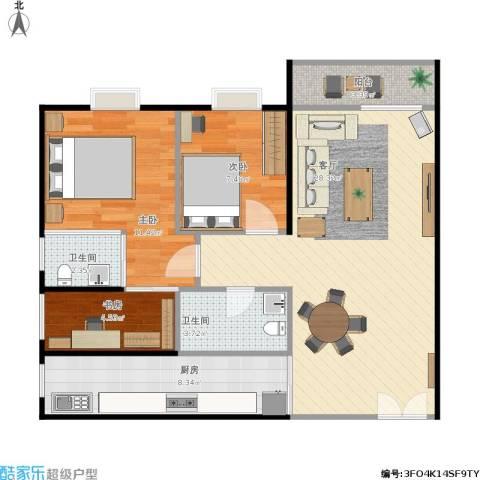 东骏豪苑3室1厅2卫1厨95.00㎡户型图