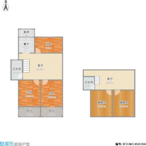 凤凰西街小区3室2厅2卫1厨168.00㎡户型图