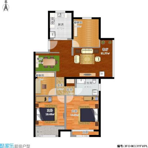 世茂公元3室1厅1卫1厨119.00㎡户型图