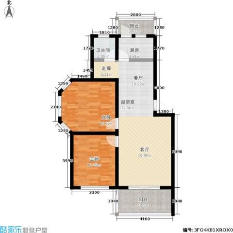 水岸林语2室0厅1卫1厨80.00㎡户型图