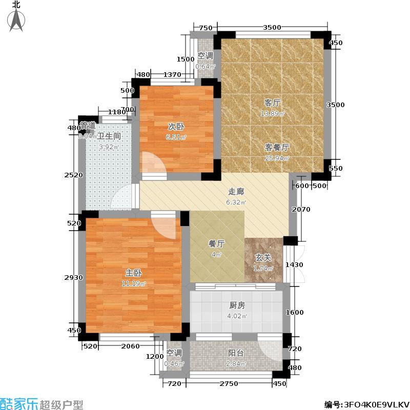 西蜀祥瑞府58.00㎡一期4号楼标准层B户型