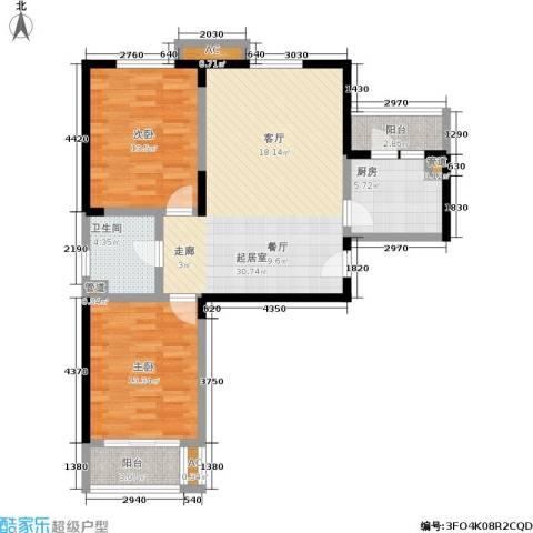 开源馨居2室0厅1卫1厨91.00㎡户型图