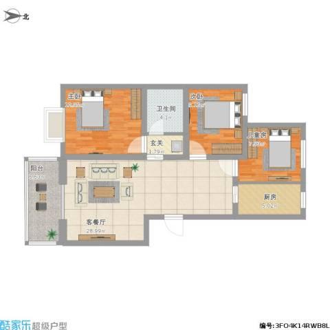 七色镇3室1厅1卫1厨112.00㎡户型图