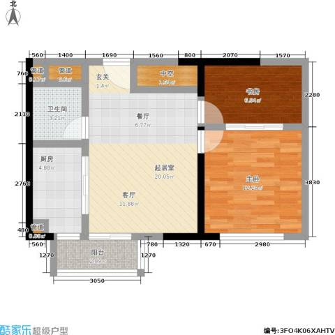 颐和宫2室0厅1卫1厨77.00㎡户型图