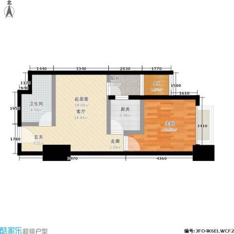 正尚国际公寓1室0厅1卫1厨55.00㎡户型图