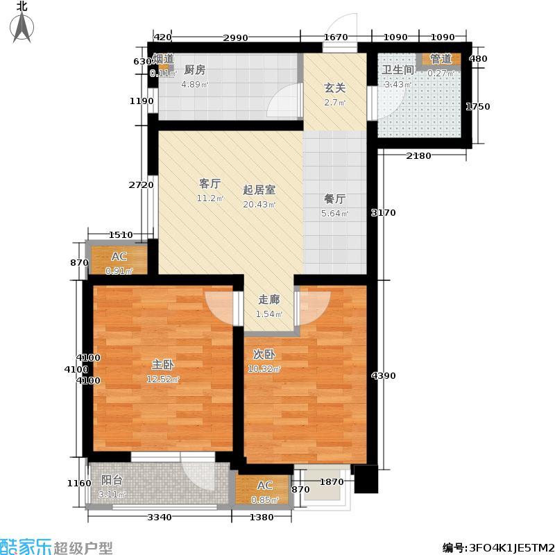 天津雅颂居85.71㎡高层标准层G02户型2室2厅