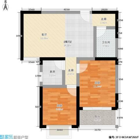 晟方佳苑2室0厅1卫1厨77.00㎡户型图