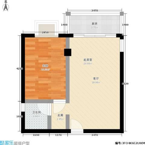 蓝山公馆1室0厅1卫1厨55.00㎡户型图