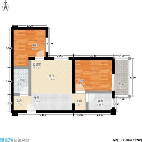 蓝山公馆2室0厅1卫1厨70.00㎡户型图