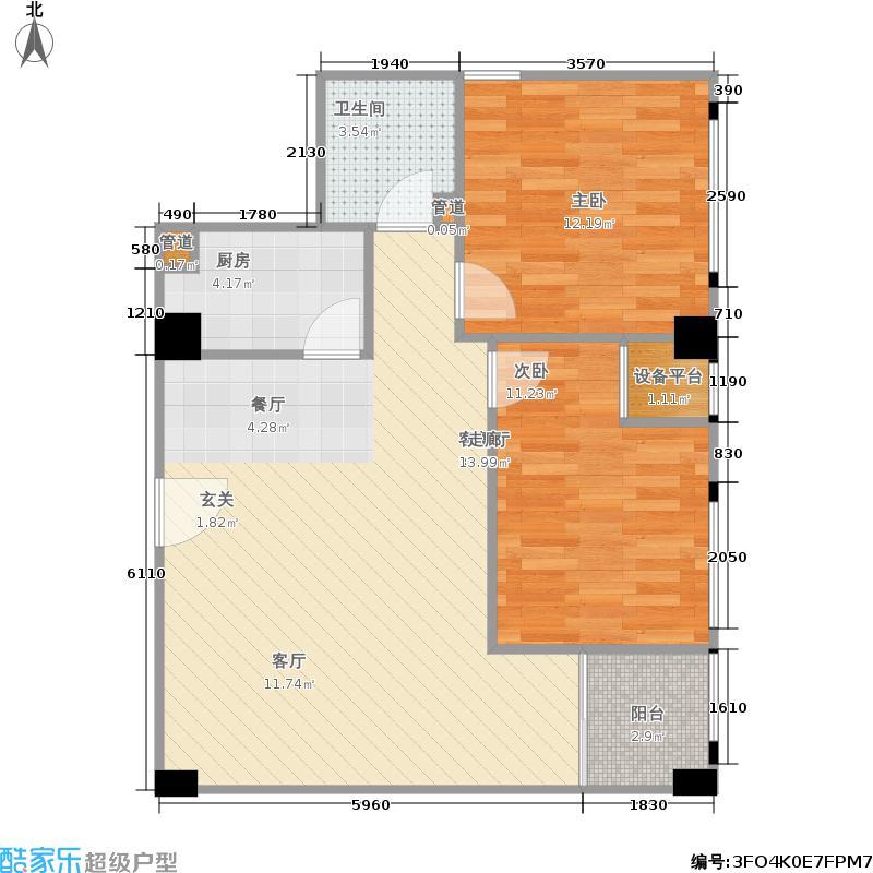 世纪百合尚寓91.52㎡一期3号楼标准层E11户型