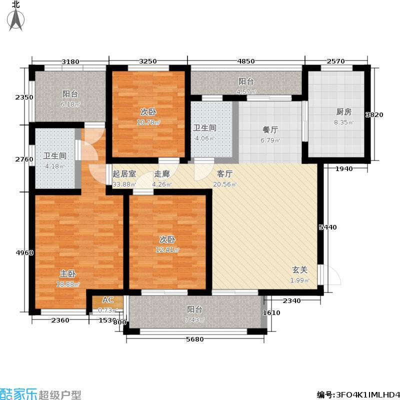 宝鼎世嘉130.00㎡3#E户型3室2厅