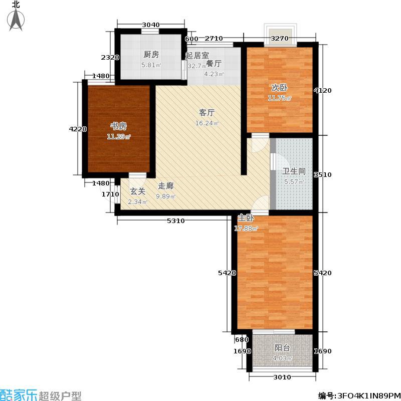 幸福城102.10㎡1、3#楼G户型3室2厅