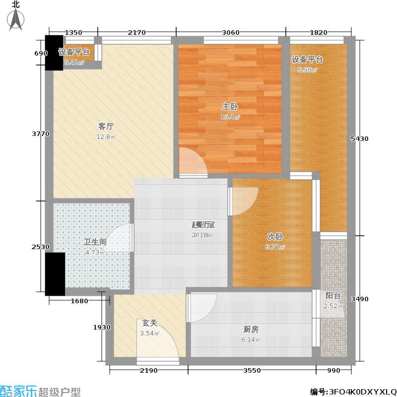 英祥财富领域75.00㎡一期3号楼标准层E户型