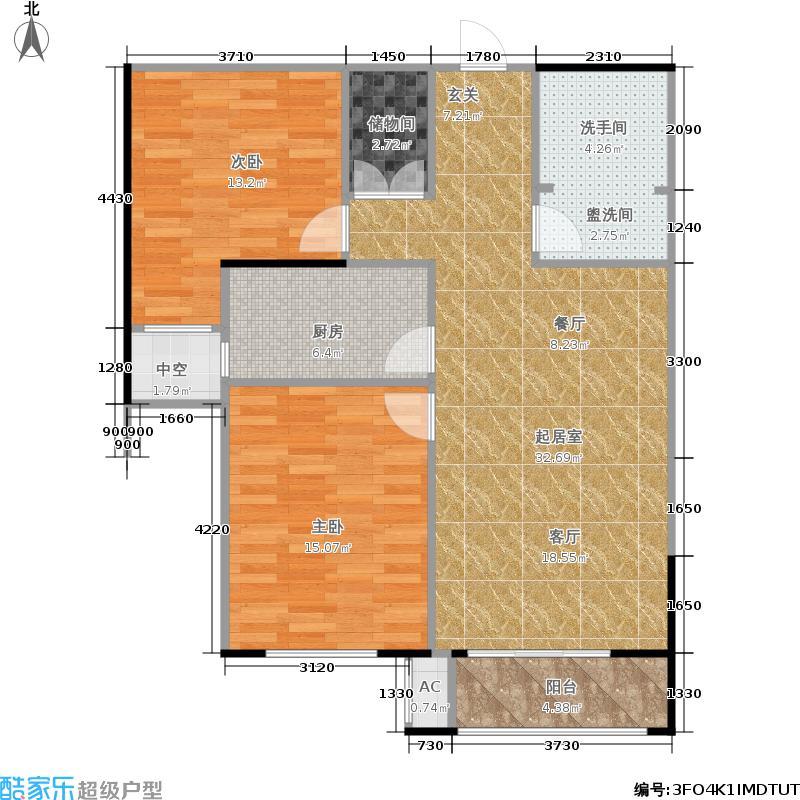 怀特翰墨儒林90.99㎡2#3#6#楼B户型2室2厅