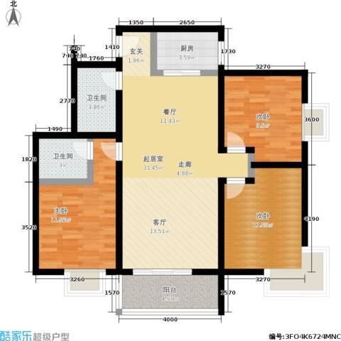 晶筑逸品3室0厅2卫1厨105.00㎡户型图