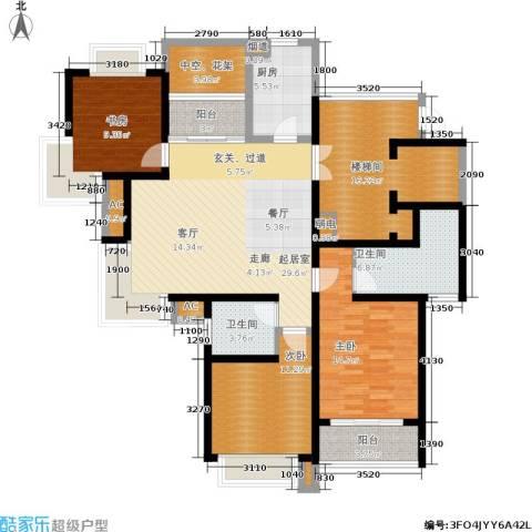 瑞景国际3室0厅2卫1厨122.00㎡户型图