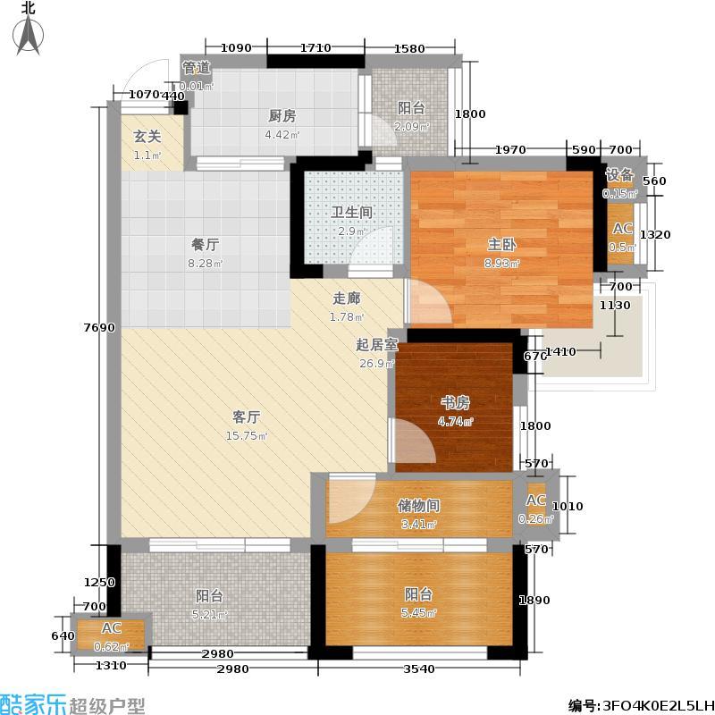 香城榕园80.29㎡一期3#楼2单元标准层D42室户型