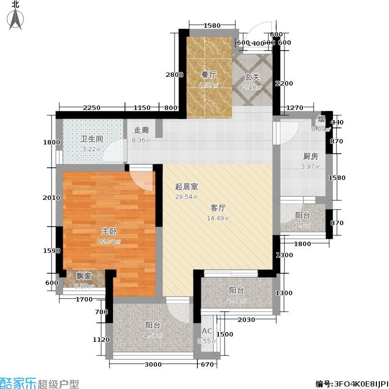高家庄赞城72.47㎡一期2号楼标准层E户型