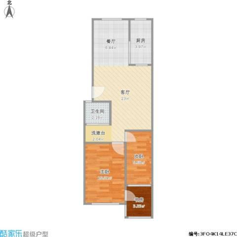 爱达花园3室1厅1卫1厨66.00㎡户型图