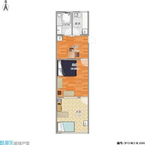 绿星小区2室1厅1卫1厨57.00㎡户型图