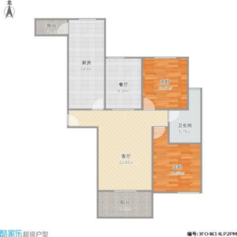 东城世纪广场2室2厅1卫1厨108.00㎡户型图