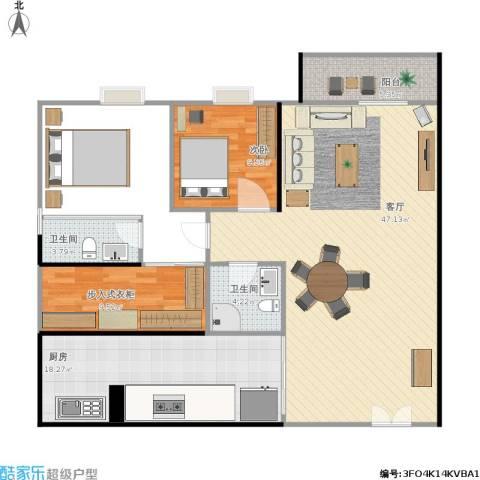 东骏豪苑1室1厅2卫1厨152.00㎡户型图