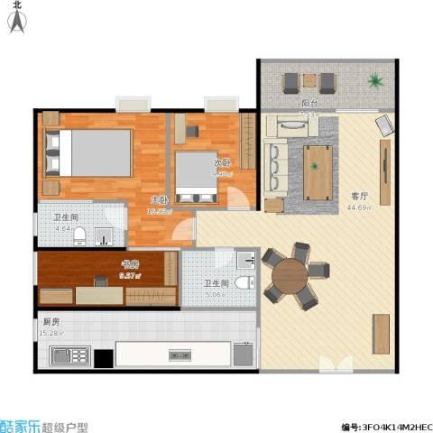 东骏豪苑3室1厅2卫1厨152.00㎡户型图