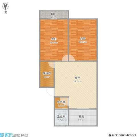 东岳小区2室1厅1卫1厨116.00㎡户型图