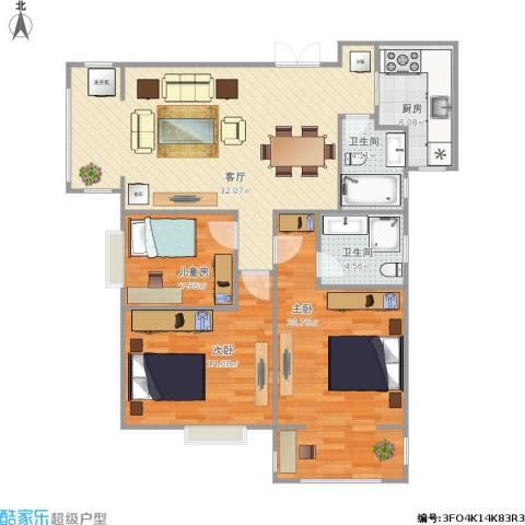 上东大道3室1厅2卫1厨120.00㎡户型图