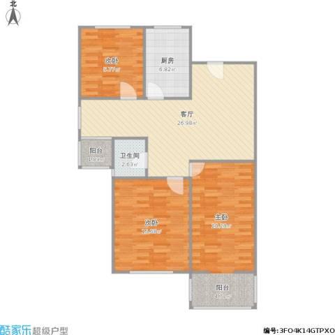 汇贤居3室1厅1卫1厨113.00㎡户型图