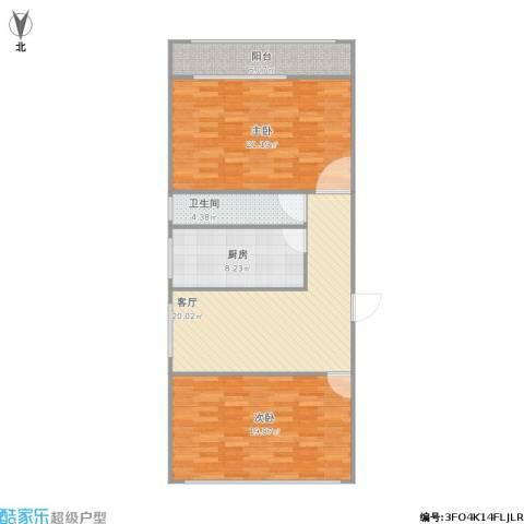 二七铁路宿舍2室1厅1卫1厨107.00㎡户型图