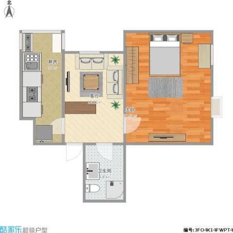 吉利家园1室1厅1卫1厨64.00㎡户型图