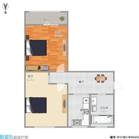 叙丰里1室2厅1卫1厨90.00㎡户型图