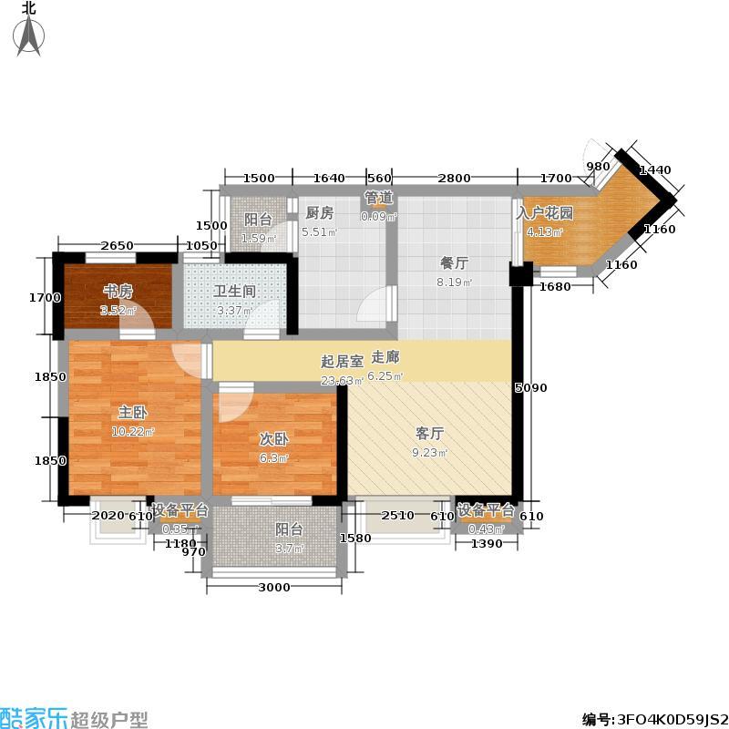 龙门镇84.00㎡一期四号楼标准层B29户型