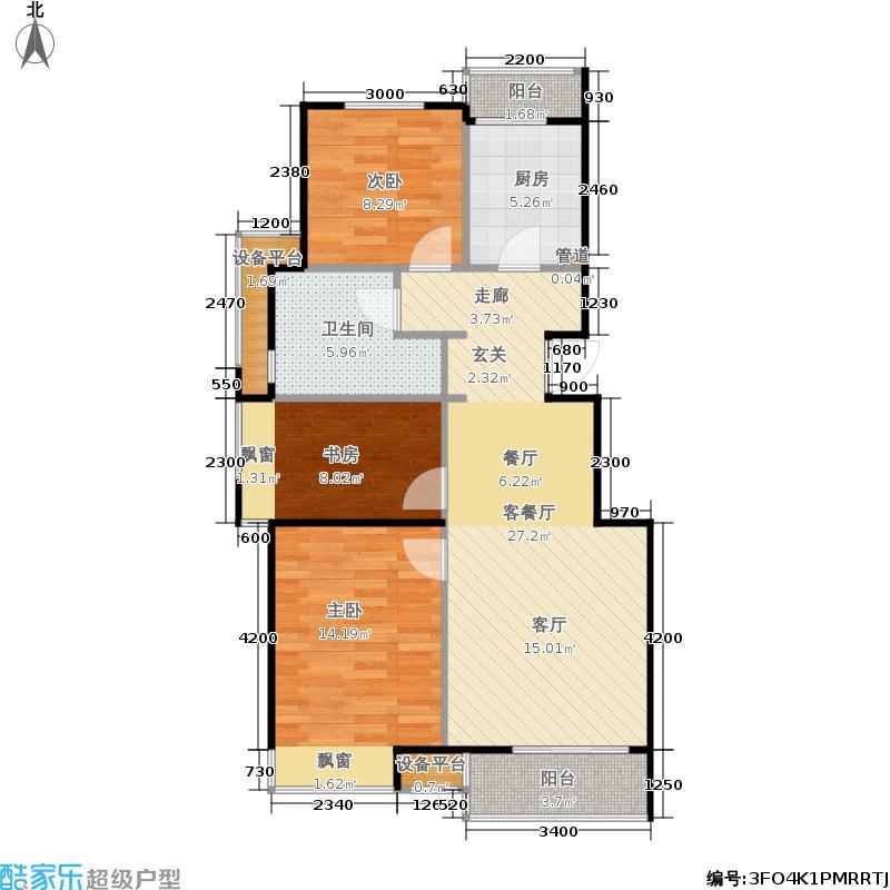 路劲·世界城95.02㎡E户型3室2厅